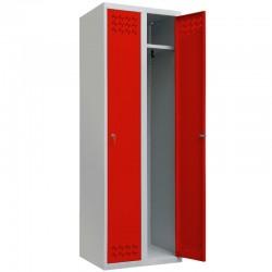 Szafa ubraniowa Metalkas TG-2MSU-ECO/MTD z czerwonymi drzwiami