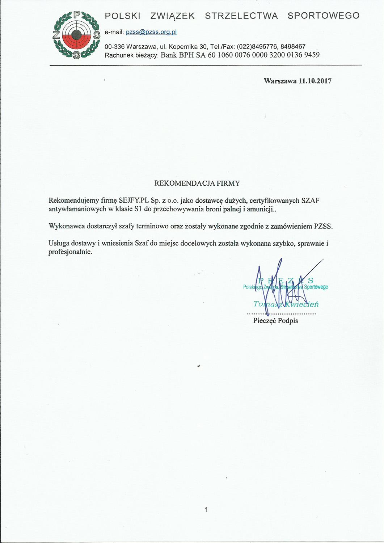 Referencje z Polskiego Związku Strzelectwa Sportowego