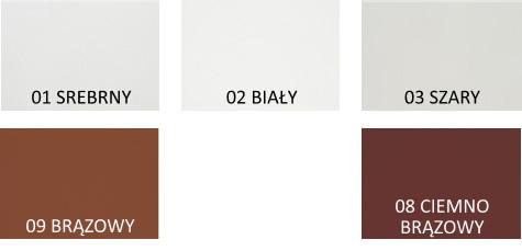 standardowe kolory rolet profil PA45