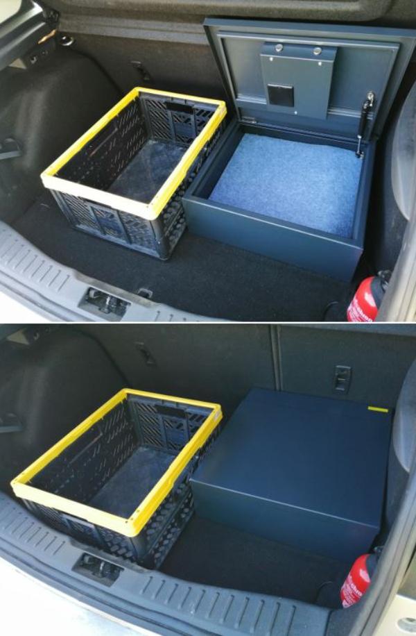 sejf poziomy w bagażniku samochodowym
